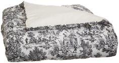 Victoria Park Toile Bed Comforter Queen Size, Black Ellis Curtain #PLL
