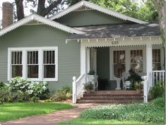 Tricks Upgrade Exterior House With Victorian Porch 21 Paint Colors For Home, Craftsman Bungalows, House Paint Exterior, House Painting, Cottage Exterior, Craftsman House, Exterior Paint Colors For House, Bungalow Exterior, Green Siding