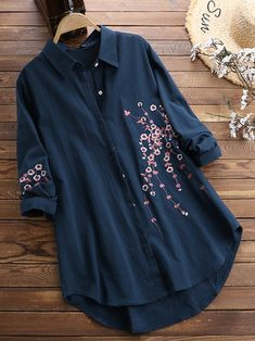 Women Cotton Button Down Plum Embroidered Blouse - Banggood Mobile Stylish Dresses For Girls, Stylish Dress Designs, Stylish Outfits, Girls Fashion Clothes, Fashion Outfits, Embroidered Clothes, Embroidered Blouse, Mode Kimono, Sleeves Designs For Dresses