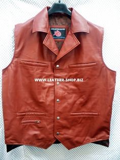 Leather vest with 5 front pockets MLV88 also 2 pistol Pete   2 inside pockets, dark brown front pic,