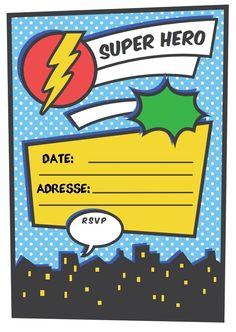 {Free printable} Plus de 30 printable pour une fête de super héros! Spiderman Invitation, Superhero Birthday Invitations, Disney Cars Birthday, Invitation Fete, Custom Invitations, Batman Party, Superhero Party, Boy Birthday Parties, Birthday Cards