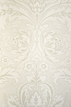 Powder Room  Coleridge Damask Wallpaper A really elegant Damask wallpaper in understated taupes and white.