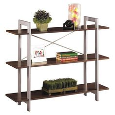 Office Star Furniture - X-Text Bookcase - Espresso - Larger Front Unique Bookshelves, 3 Shelf Bookcase, Open Bookcase, Bookcases, Storage Shelves, Shelving, Farmhouse Furniture, Living Furniture, House