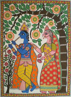 The New Mithila Art Amrita Jha When I first saw Mithila paintings on the streets of New Delhi a few years ago, I found among the many quickly drawn pieces for the souvenir trade a few that stood out. Gond Painting, Art Painting Gallery, Krishna Painting, Krishna Art, Mural Painting, Madhubani Paintings Peacock, Kalamkari Painting, Madhubani Art, Pichwai Paintings