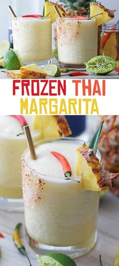 Frozen Thai Margarita - cool down this summer with a cocktail complete with sweet pineapple, creamy coconut, spicy Thai chili, and tequila, of course!