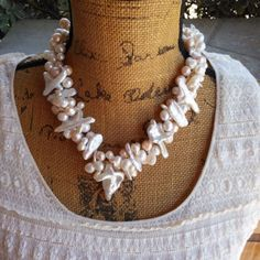 Pearl Bridal Statement Necklace, Handmade, Chunky, Bib, Collar, Twisted Wire Wrapped Necklace