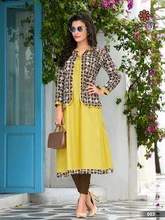 How to wear yellow coat jackets 61 ideas Kurta Designs Women, Kurti Neck Designs, Salwar Designs, Pink Fashion, Indian Fashion, Fashion Outfits, Kurti With Jacket, Modesty Fashion, Kids Frocks