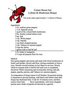 Corner House Lobster Bisque Lobster Recipes, Tuna Recipes, Copycat Recipes, My Recipes, Soup Recipes, Salad Recipes, Cooking Recipes, Favorite Recipes, Lobster Meat