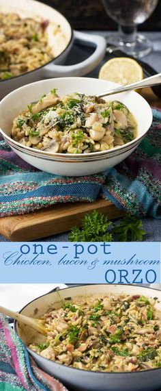 One-pot creamy chicken, bacon and mushroom orzo (the lazy-person's risotto!)