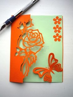 Free Carved Greeting Card Pattern – Rose and Butterfly | www.FabArtDIY.com LIKE Us on Facebook ==> https://www.facebook.com/FabArtDIY