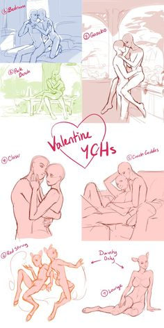 Valentine YCHs ( Closed) by Meirii Manga Poses, Anime Poses, Figure Drawing Reference, Anatomy Reference, Couple Drawings, Art Drawings, Character Drawing, Character Design, Poses References