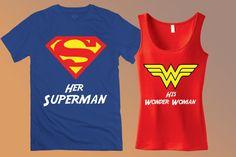 Superman & Wonder Woman Couples Tee Shirts - Her Superman and His Wonder Woman Custom Matching Tank Tops