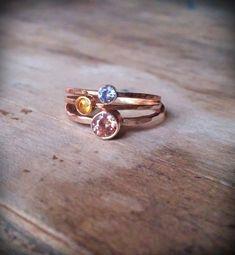 Stacking ring set faceted gemstone stack rings 14k gold bezel birthstone Fair Trade. $112.00, via Etsy.