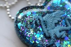 Dragon Jewelry Dragon Necklace Resin Pendant Blue by isewcute