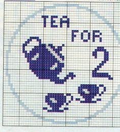 tea for 2 Cross Stitch Kitchen, Cross Stitch Art, Cross Stitch Alphabet, Cross Stitch Designs, Cross Stitching, Cross Stitch Embroidery, Embroidery Patterns, Cross Stitch Patterns, Crochet Patterns