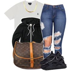 A fashion look from February 2016 featuring NIKE shoes and Louis Vuitton messenger bags. Browse and shop related looks.