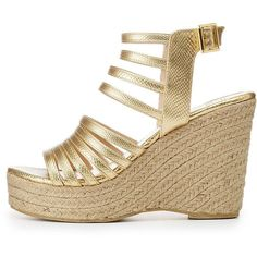 f52331132b8 Qupid Strappy Espadrille Wedge Sandals ( 20) ❤ liked on Polyvore featuring  shoes