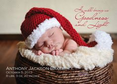 Goodness & Light Holiday Card and Birth Announcement by Steph Piontkowski Design.   #paper #print #photo #newborn #baby #christmas