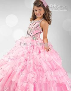 Wholesale Kids Pageant Dresses Pink Beaded Little Girl Puffy Dresses 6343 Organza Multi Layered Ball Gowns, Free shipping, $117.6-134.4/Piece | DHgate