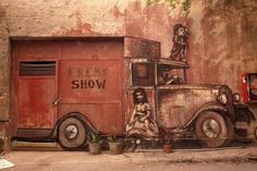 Borondo is a young and promising street artist from Spain. Unlike most artists of today, he doesn't strive for realism in his work. As a matter of fact, his characters