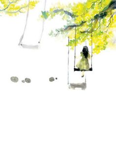 Girl on swing. Watercolor Projects, Watercolor Cards, Watercolor Paintings, Watercolours, Figure Painting, Painting & Drawing, Watercolor Flowers Tutorial, Mellow Yellow, Illustrations Posters