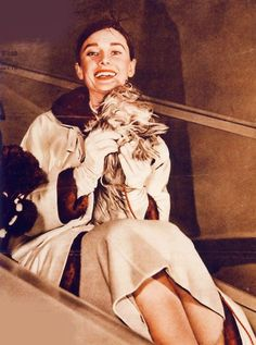 #3 series of famous people with dogs, Audrey and dirty mop/dog