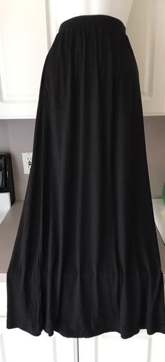 H&M Long Black Maxi Skirt Stretch Soft Size S Elastic Waist Fashion Women Career  | eBay