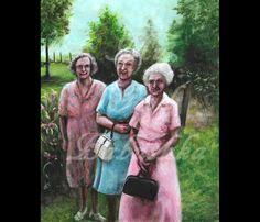 The Three Graces, Original Painting, Portrait, Women, Group Portrait, 1960s, Garden, Domestic Scene, Sunny Day, Summer, Old Women, Friends by mygoodbabushka on Etsy