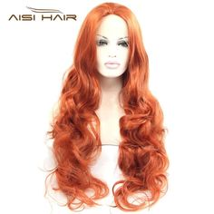 "(41.94$)  Buy here - http://aia62.worlditems.win/all/product.php?id=32630618286 - ""26""""Long Wavy Orange red Sexy Lace Front Wig Heat Resistant Full Synthetic Wigs Cheap Cosplay Wigs For Beauty Girls Free Shipping"""