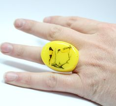 Vintage Print Yellow Bird Resin Ring by zougeebean on Etsy