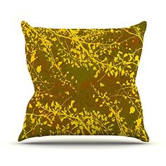 KESS InHouse IL2033DOP03 18 x 18-Inch 'Iris Lehnhardt Twigs Silhouette Earthy Brown Yellow' Outdoor Throw Cushion - Multi-Colour *** Learn more by visiting the image link. #GardenFurnitureandAccessories