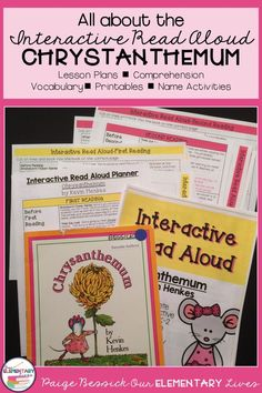 Back to School Interactive Read Aloud for Chrysanthemum by Kevin Henkes. It includes lesson plans, in-depth comprehension, retelling worksheets, vocabulary, mini-charts and a getting to know you activities. Perfect for K-2. This resource will make plannin