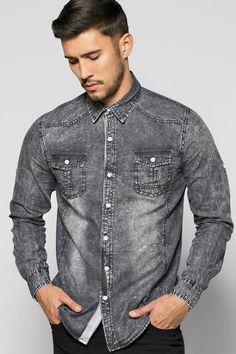mzz77205_washed black_xl (1000×1500) Denim Shirt Men, Denim Jacket Men, Denim Top, Gq Mens Style, Winter Shirts, Love Jeans, Mens Attire, Men Design, Jean Shirts