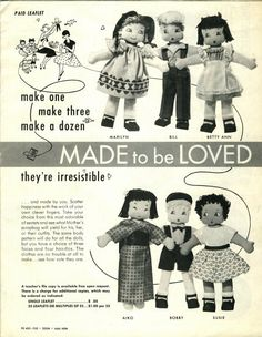 Vintage Cloth Doll Patterns: Made to be Loved - 6 dolls with outfits 1955