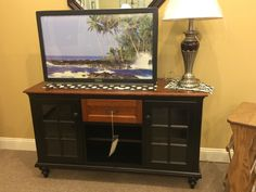"""54"""" Broadstreet TV Stand Luster Cherry with Ebony"""