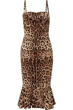 Dolce & Gabbana - Ruched Leopard-print Silk-cady Midi Dress - Leopard print - IT