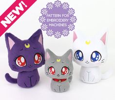 Digital machine embroidery pattern bundle & instructions to make cute kawaii Sailor Moon cat plush toys in 2 sizes with machine embroidery and some sewing. Perfect for holiday gifts! Materials, finished product are not included. Skill level: Beginner and up  Embroider your own precious, handheld-size Moon Kitty stuffed animals FAST with my detailed photo tutorial! Sewing with my patterns is stress-free; my customers say that my patterns are so easy to understand, that its like taking a class…
