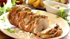 Roast pork belly with apple cream sauce