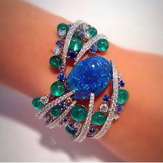 SCAVIA Black Opal, Diamond, and Emerald Cuff