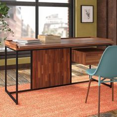 Brayden Studio Sanor Wood Writing Desk | Wayfair Small Room Desk, Large Computer Desk, Large Desk, Contemporary Office Desk, Colored Dining Chairs, Steel Frame Construction, Wood Writing Desk, Solid Wood Desk, Home Office Space