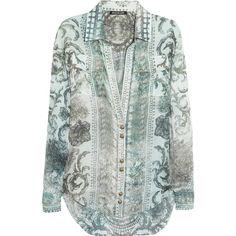Balmain Printed silk shirt ($660) ❤ liked on Polyvore