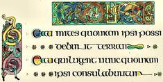 Onciale irlandaise. Evangéliaire de Kells (VII°s), l'écriture irlandaise et anglo-saxonne se distinguent de la mérovingienne parce qu'elles ont été formées, sans subir l'influence de la cursive, d'éléments empruntés à l'onciale et à la semi-onciale. Les Irlandais (Scotti, d'où le nom littera Scottica donné à leur écriture) ont employé depuis le VI°s 3 sortes d'écriture.