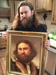 So funny, from Korie Robertson's twitter, says their friend found this painting hanging in a museum in Scotland!
