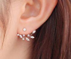 925 Sterling Silver Stick,Silvery / Rose Golden Leaves Earrings,Elegant Ear Jacket zircon Beaded Earrings YZ071 by Overspeed on Etsy https://www.etsy.com/listing/242976767/925-sterling-silver-sticksilvery-rose