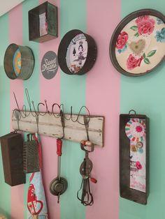 Repurposed, Gallery Wall, Wall Decor, Baking Tools, Cake Tins, Studio, Cooking, Fun Things, Frame