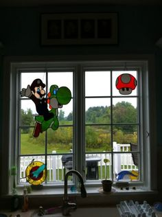 Mario and Yoshi Stained Glass!