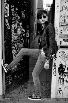 Rock girl in doorway #rockgirl Black Leather Jackets never die