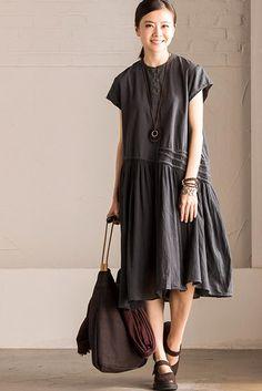 Art Loose Irregular Joining Together Cotton Linen Dress Women Clothes