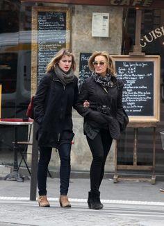 Jessica Lange and her daughter Aleksandra Baryshnikov strolling in Paris.