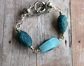 Agate Druzy Bracelet - Teal Blue Green Geode - Sterling Silver - Celestial Star Hill Tribes Beads - Rustic, Boho - Gemstone - Gift Box